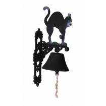 Hand Painted Black Cat Design Garden Bell