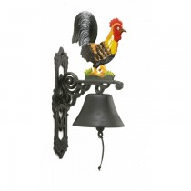 Hand Painted Rooster Design Garden Bell