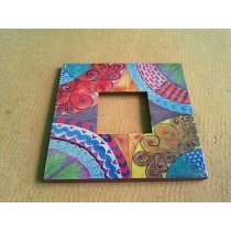 Hand Work Colored Curved Pattern Photo Frame