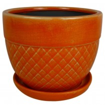 Handcrafted Coral Orange Ceramic Planter