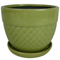 Handcrafted Green Ceramic Planter