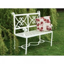 Handmade Antique White Finish Garden Bench