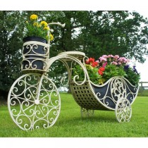 Handmade Cream Finish Wrought Iron Planter Stand