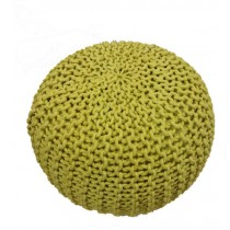 Handmade Round Knitted Lemon Grass Floor Pouf