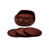 Handmade Round Wooden Coasters Set of 6 Pcs