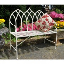 Handmade Vintage Cream Finish Garden Bench