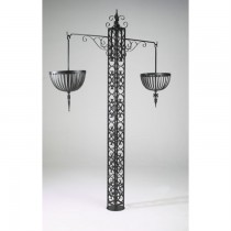 Handmade Wrought Iron Hanging Basket With Stand