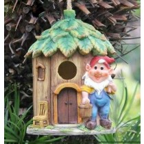 Hanging Bird House & Gnome House Sculpture