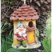 Hanging Bird House With Gnome Sculpture
