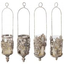 Hanging Metal Glass Antique Lanterns Set of 4 Pcs