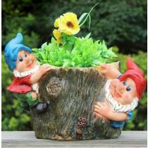 Hanging Two Gnome Garden Planter Sculpture