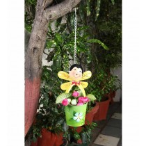 Hanging Yellow  Bee With  Green Pot