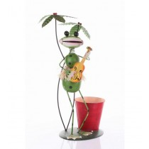 Frog Holding Guitar With 9 Inch Metal Planter