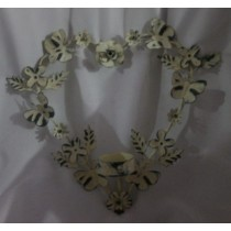 Heart Shaped Washed Iron Wall Candle Holder