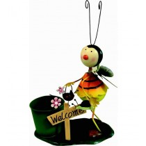 Honey Bee Holding Welcome Plate With Green Planter