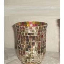 Hurricane Candle Holder With Colored Gold Mosaic Finish