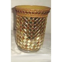 Hurricane Candle Holder With Gold Mosaic Finish