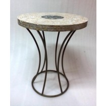 Iron With Mother Of Pearl Finish Stool