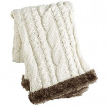 Ivory Cable Knit Faux Fur Trimmed Throw