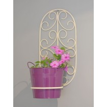 Ivory Oval Wall Plant Holder With Pink Planter