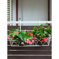Set of 2 Ivory White Rectangle MS Railing Planters