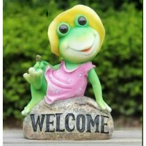 Lady Green Frog With Welcome Message