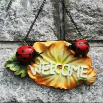 Ladybug Wall Hanging Welcome Message