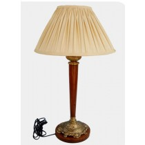 Lamp With Wooden Base & Rod, 32 Inches