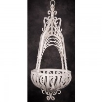 Large Antique Cream Finish Hanging Basket
