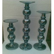 Large Pillar Candle Holder In Antique Silver Black