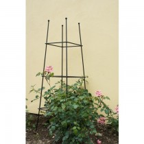 Large Square Hand Crafted Black Iron Garden Obelisk