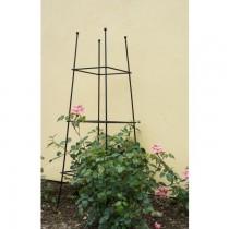 Large Square Hand Crafted Black Iron Garden Obelisk