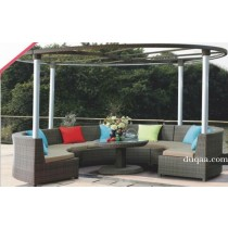 Large Wicker Cast Aluminum Round Garden Gazebo