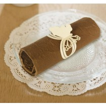 Laser Cut Napkin Ring Cream Butterfly Design 18 x 5 cm