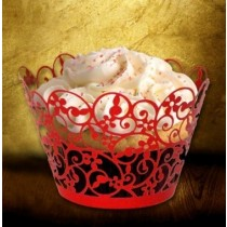 Laser Cut Paisley Cup Cake Wrapper