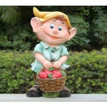 Laughing Boy With Cherry Basket Sculpture
