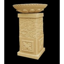 Leaf Design Square Pedestal With Lotus Petals Flowerpot