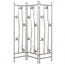 Leaf  Design Wrought Iron 3-Panel Screen