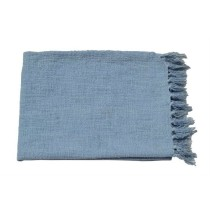 Light Blue Fringes Border Throw
