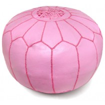 Light Pink Leather Cover Floor Pouf
