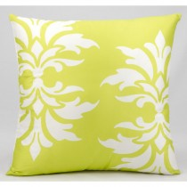 Lime Double Damask Pattern Cushion