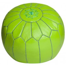 Lime Green Leather Cover Floor Pouf