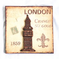 London Metal Tower Sign  Wall Art(25 X 3.8 X 25 CM)