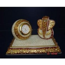 Lord Ganesh With Marble Round Clock