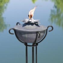 Lotus Design Zinc Garden Torch With Trellis Floor Stand