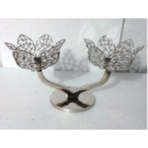 Lotus Flower Shape Crystal 2 Arms T-Light Candelabras