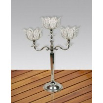 Lotus Three Crystals Arm Candelabras
