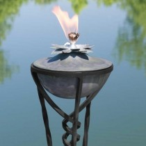 Lotus Zinc Garden Torch With Yard Stake