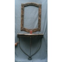 Mango Wood Curved Photo Frame With Iron Console