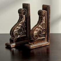 Mango Wood Hand Curved Floral Bookends